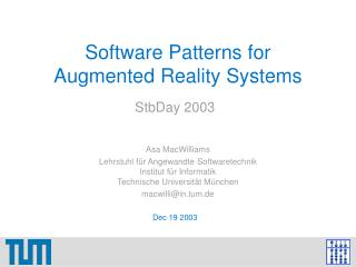 Software Patterns for Augmented Reality Systems