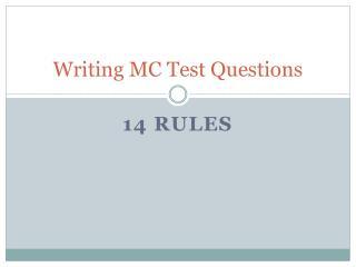 Writing MC Test Questions
