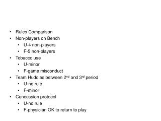 Rules Comparison Non-players on Bench U-4 non-players F-5 non-players Tobacco use U-minor