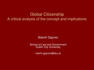 Global Citizenship A critical analysis of the concept and implications
