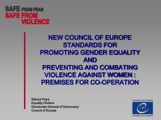 Raluca Popa  Equality Division  Directorate General of Democracy  Council of Europe