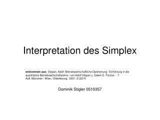 Interpretation des Simplex
