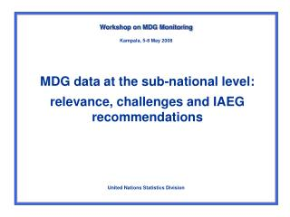 MDG data at the sub-national level: relevance, challenges and IAEG recommendations