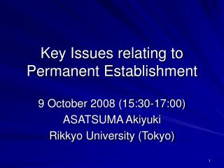 Key Issues relating to Permanent Establishment