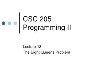 CSC 205 Programming II