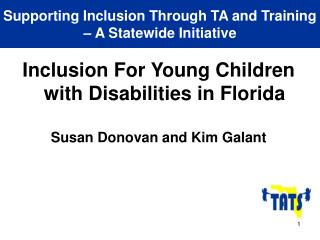 Supporting Inclusion Through TA and Training – A Statewide Initiative