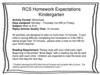 RCS Homework Expectations Kindergarten