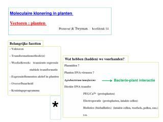 Moleculaire klonering in planten  Vectoren : planten  Primros e & Twyman.  :  hoofdstuk 14