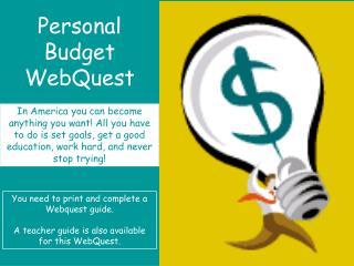 Personal Budget WebQuest