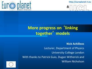 More progress on  � linking together �  models