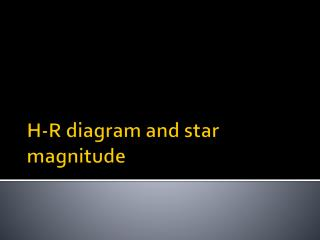 H-R diagram and star magnitude