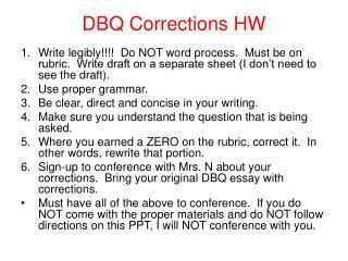 DBQ Corrections HW