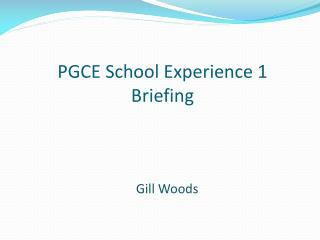 PGCE School Experience 1 Briefing