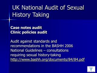 UK National Audit of Sexual History Taking
