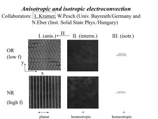 Anisotropic and isotropic electroconvection