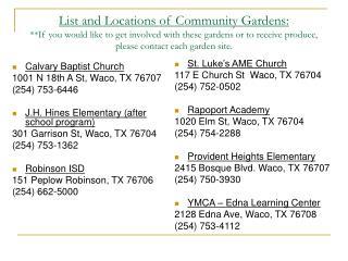 Calvary Baptist Church 1001 N 18th A St, Waco, TX 76707    (254) 753-6446