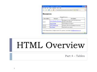 HTML Overview
