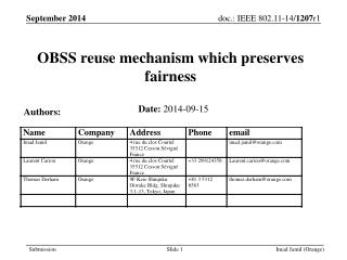OBSS reuse mechanism which preserves fairness