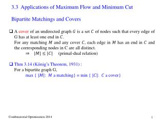 3.3  Applications of Maximum Flow and Minimum Cut