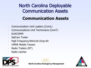 North Carolina Deployable Communication Assets