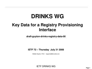 DRINKS WG Key Data for a Registry Provisioning Interface