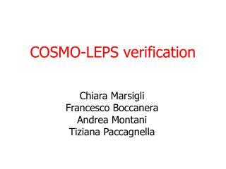 COSMO-LEPS verification