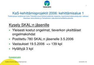 Kysely SKAL:n jäsenille Yleisesti koetut ongelmat, tieverkon yksittäiset ongelmakohdat