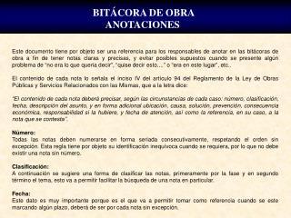 BIT CORA DE OBRA ANOTACIONES