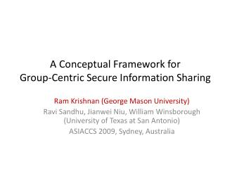 A Conceptual Framework for Group-Centric Secure Information Sharing