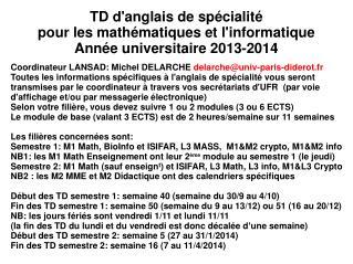 TD d'anglais de spécialité  pour les mathématiques et l'informatique Année universitaire 2013-2014