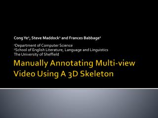 Manually Annotating Multi-view Video Using A 3D Skeleton