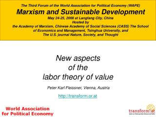 The Third Forum of the World Association for Political Economy (WAPE)