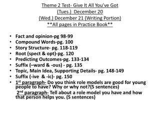 Fact  and opinion-pg 98-99 Compound Words-pg. 100 Story Structure- pg. 118-119