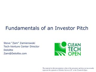 Fundamentals of an Investor Pitch