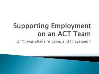Supporting Employment on an ACT Team