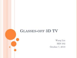 Glasses-off 3D TV