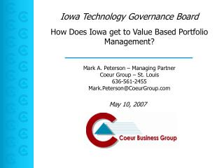 How Does Iowa get to Value Based Portfolio Management