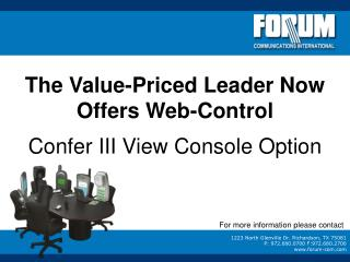 The Value-Priced Leader Now Offers Web-Control