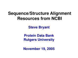 Sequence/Structure Alignment Resources from NCBI