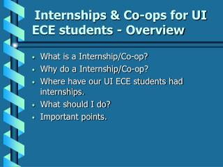 Internships & Co-ops for UI ECE students - Overview