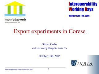 Export experiments in Corese