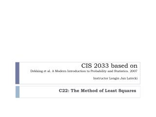 C22: The Method of Least Squares