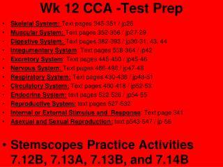 Wk 12 CCA -Test Prep