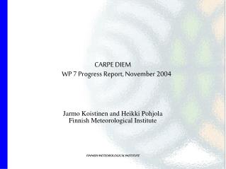 CARPE DIEM WP 7 Progress Report, November 2004