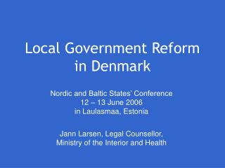 Local Government Reform  in Denmark