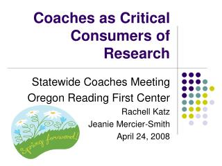 Coaches as Critical Consumers of Research