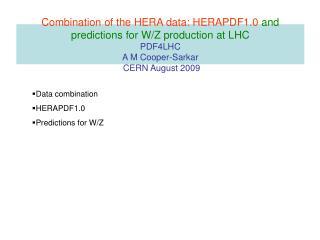 Data combination HERAPDF1.0 Predictions for W/Z