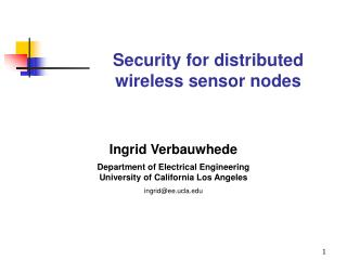 Security for distributed wireless sensor nodes