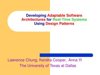 Developing  Adaptable Software Architectures  for  Real-Time Systems Using  Design Patterns