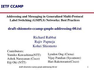 IETF CCAMP